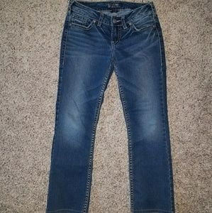 size 10 short boot cut silver jeans